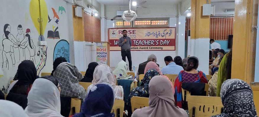یہ جو ہماری درسگاہوں میں استاد ہوتے ہیں حقیقت میں یہی قوم کی بنیاد ہوتے ہیں Celebrating world Teacher's day with whole staff of Rose Educational Society